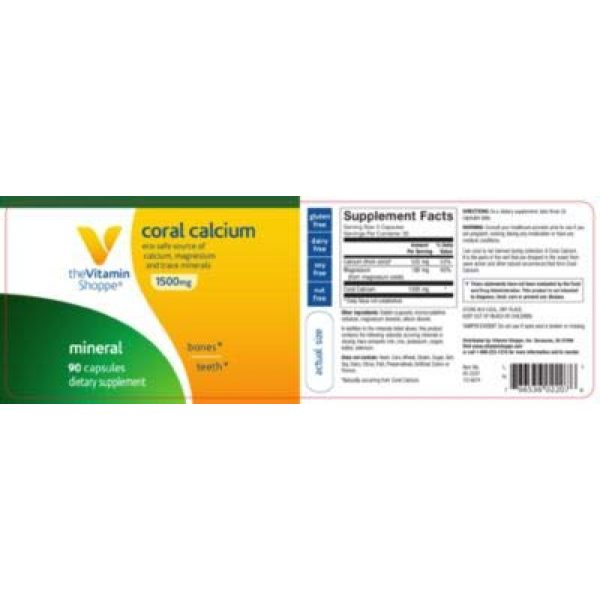 The Vitamin Shoppe Calcium Supplement 4 The Vitamin Shoppe Coral Calcium 1,500MG Eco Safe Source of Calcium, Magnesium Trace Minerals to Support Healthy Bones and Teeth (90 Capsules)
