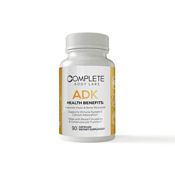 Complete Body Labs Calcium Supplement 1 Complete Body Labs ADK, Vitamin A D3 & K2 (MK-7), Support Strong Bone Structure, Ocular Health, Immune Function, Calcium Absorption & Cardiovascular Health, 90 Capsules, Non-GMO Ingredients