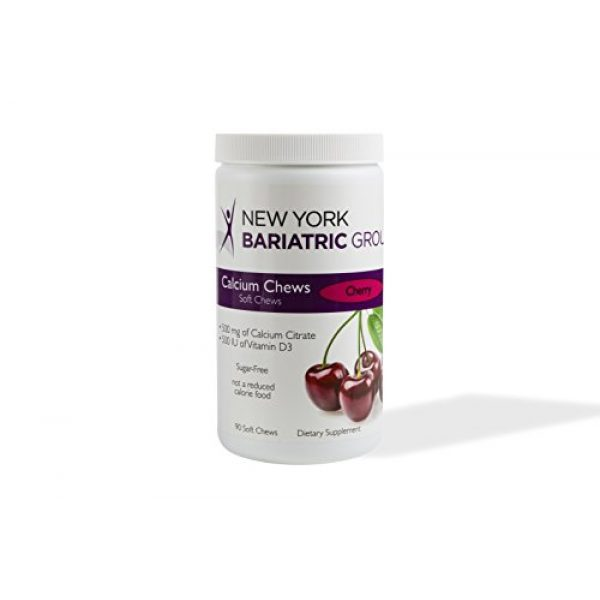 New York Bariatric Group Calcium Supplement 2 New York Bariatric Group Calcium Citrate Soft Chews with D3 Soft Chews - Cherry - for Bone and Metabolic Support - Sugar Free -500 mg Calcium Citrate - 500 IU D3-90 Count
