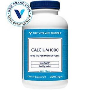The Vitamin Shoppe Calcium Supplement 1 Calcium (Carbonate) 1000mg - Mineral Essential for Healthy Bones Teeth - Added 400IU Vitamin D to Aid in Absorption (300 Softgels) by The Vitamin Shoppe
