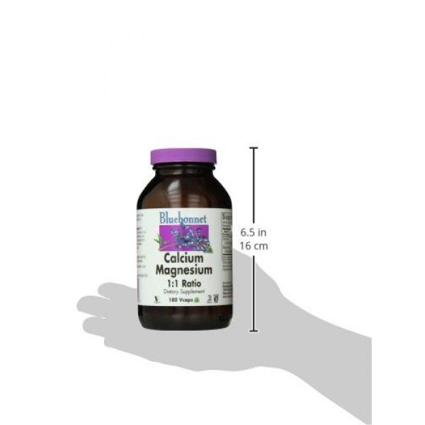 BlueBonnet Calcium Supplement 4 BlueBonnet Calcium Magnesium 1:1 Ratio Vegetarian Capsules, 180 Count, White