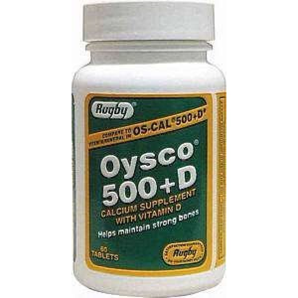 Watson Rugby Labs Calcium Supplement 2 Oysco 500+D Tablets, 500mg-200u, 60ct