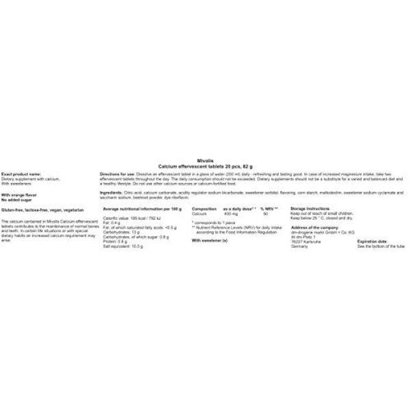 Mivolis Calcium Supplement 4 Mivolis Calcium effervescent Tablets - Dietary Supplements 4 Packs x 20 pcs | Germany