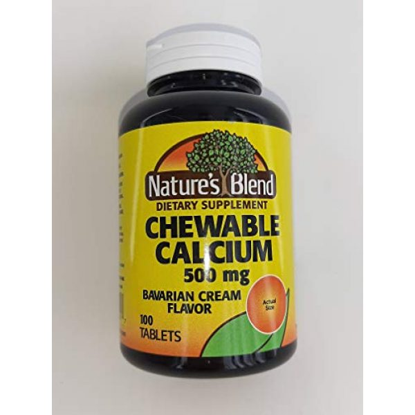 Nature's Blend Calcium Supplement 2 Nature's Blend Calcium Chewable Bavarian Cream 500 mg 100 Tabs