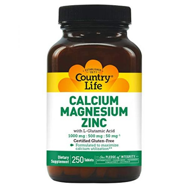 Country Life Calcium Supplement 1 Country Life - Calcium Magnesium Zinc, 100/500/50 mg - 250 Tablets