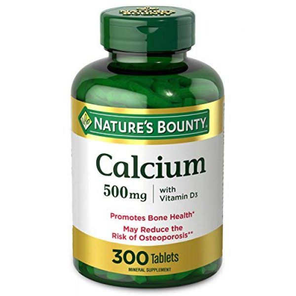 Nature's Bounty Calcium Supplement 1 Calcium & Vitamin D by Nature's Bounty, Immnue Support & Bone Health, 500mg Calcium & 400IU D3, 300 Tablets