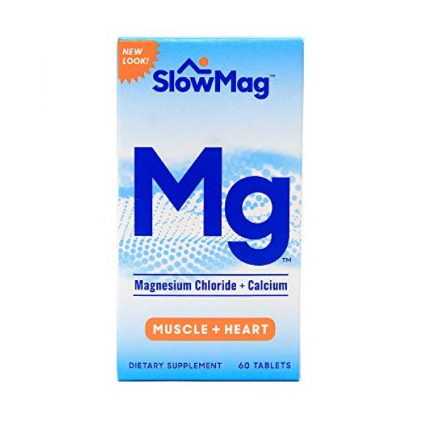 SlowMag Mg Calcium Supplement 1 SlowMag MG Muscle + Heart Magnesium Chloride with Calcium Tablets 60 Count (Pack of 2)