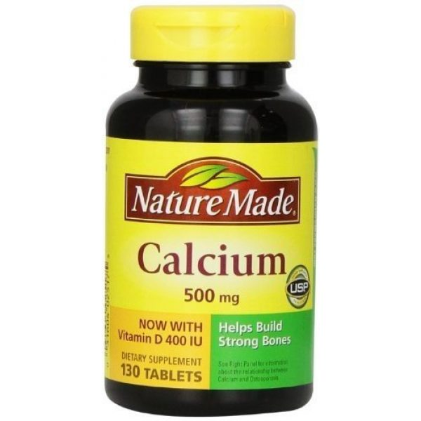 Nature Made Calcium Supplement 1 Nature Made Calcium, 500 mg, With Vitamin D, Tablets, 130 ct (Pack of 3)