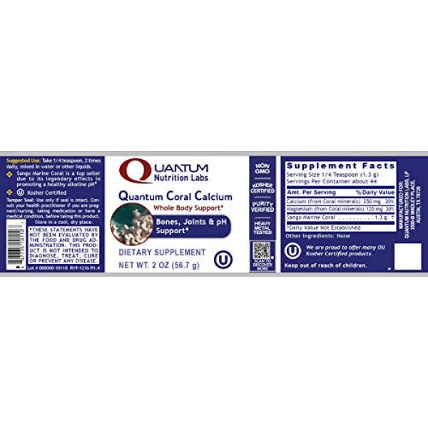 Quantum Nutrition Labs Calcium Supplement 2 Quantum Coral Calcium Powder, 2oz (44 Servings) - Ideal Whole Body Support, Especially for The Bones, Joints, Teeth and an Alkaline pH