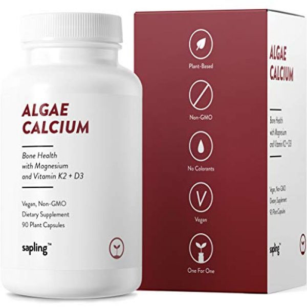 sapling Calcium Supplement 5 Calcium Supplement - Whole Food with Vitamin K2 & D3, Magnesium, Zinc, Boron, Mineral Complex. Sourced Sustainably from Red Algae. for Bone Strength and Support. Non-GMO & Vegan 90 Capsules.