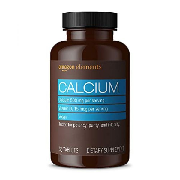 Amazon Elements Calcium Supplement 1 Amazon Elements Calcium plus Vitamin D, Calcium 500mg with D2 600IU, Vegan, 65 Tablets (2 month supply) (Packaging may vary), Supports Strong Bones and Immune Health
