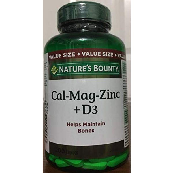 Nature's Bounty Calcium Supplement 1 Nature's Bounty Calcium Magnesium Zinc with Vitamin D3, 200 Caplets (Packaging May Vary)