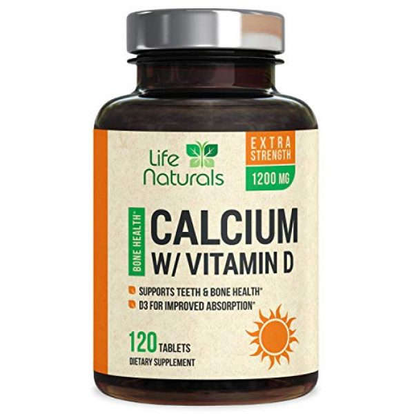 Life Nutrition Calcium Supplement 1 Calcium Supplement 600mg per Tablet - High Potency Calcium Carbonate Plus Vitamin D - Made in USA - Highly Absorbable Bone Support Vitamins, Non-GMO for Men and Women - 120 Tablets