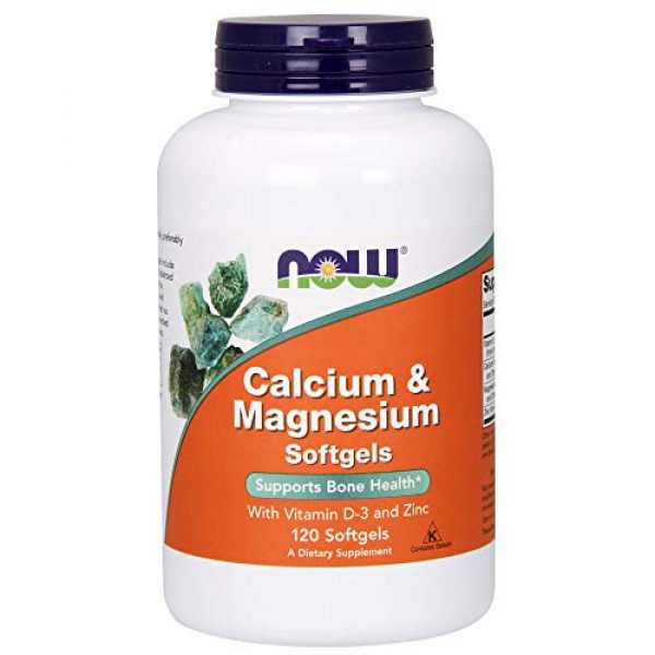 NOW Foods Calcium Supplement 1 NOW Supplements, Calcium & Magnesium with Vitamin D-3 and Zinc, Supports Bone Health*, 120 Softgels