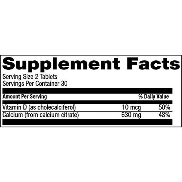 Natural Vitamin Co. Calcium Supplement 4 Natural Vitamin Co. - Calcium Citrate with Vitamin D3, Calcium 630 mg, Vitamin D3 400 IU, 60 Tablets, 1 Month Supply, Gluten Free, Vegetarian (60)