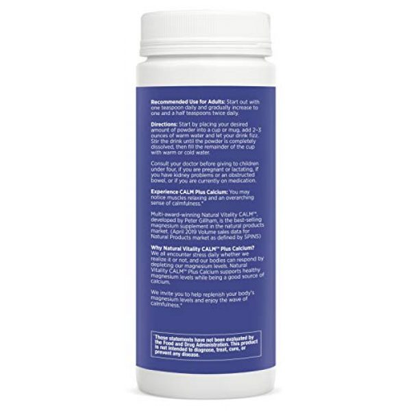 Natural Vitality Calcium Supplement 6 Natural Vitality Calm PLUS Calcium Supplement Powder, Raspberry Lemon- 8 ounce (Packaging May Vary)