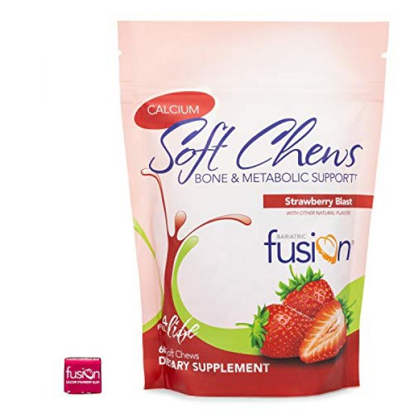 Bariatric Fusion Calcium Supplement 2 Bariatric Fusion Calcium Citrate 500mg & Energy Soft Chews Strawberry Blast Flavor for Bariatric Surgery Patients Including Gastric Bypass and Sleeve Gastrectomy, 60 count, Sugar Free, Made in The USA
