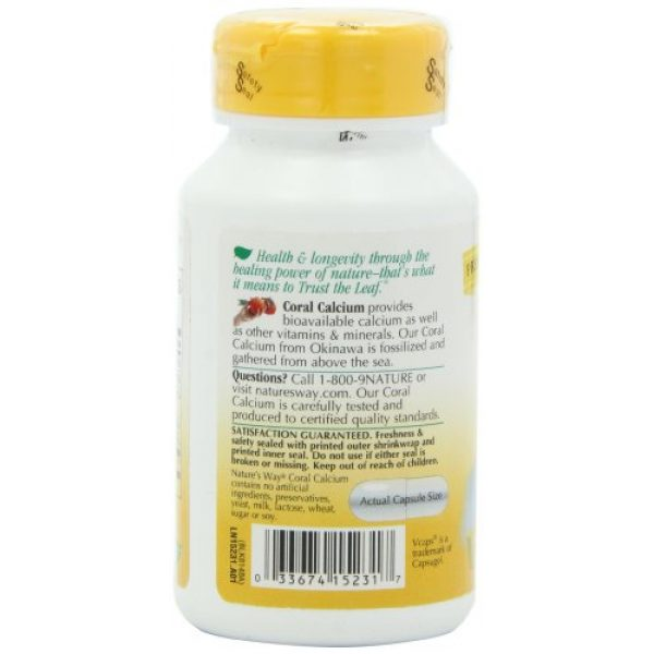 Nature's Way Calcium Supplement 5 Nature's Way Coral Calcium 600 mg w/vitamins & minerals, 90 Count