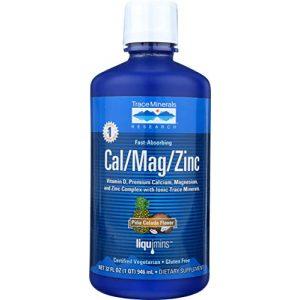 Trace Minerals Research Calcium Supplement 1 Liquid Cal/Mag/Zinc Natural Pina Colada Flavor 32 Ounces, Vitamin D, Calcium, Magnesium, Zinc, Vegan, Gluten Free