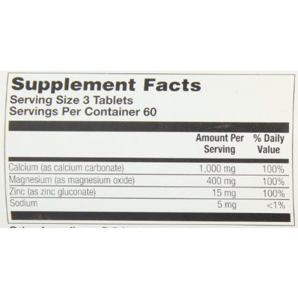 Thompson Calcium Supplement 5 Thompson Cal Mag with Zinc Tablets, 1000/400/15 Mg, 180 Count