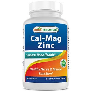 Best Naturals Calcium Supplement 1 #1 CAL MAG ZINC by Best Naturals - Essential Mineral Complex - Manufactured in a USA Based GMP Certified Facility and Third Party Tested for Purity. Guaranteed!!, 180 Tablets