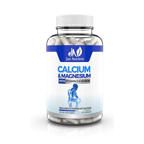 Just Nutrients Calcium Supplement 1 Just Nutrients Calcium & Magnesium Supplement with 10 Forms of Calcium, Vitamin D3 & Boron for Superior Absorption - Supports Strong Bones, Muscles and Teeth - 120 Capsules