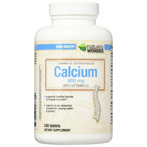 Nature's Wonder Calcium Supplement 1 Nature's Wonder Calcium 600mg with Vitamin D3 800IU Tablets, 240 Count, Compare vs. Caltrate 600 + D3