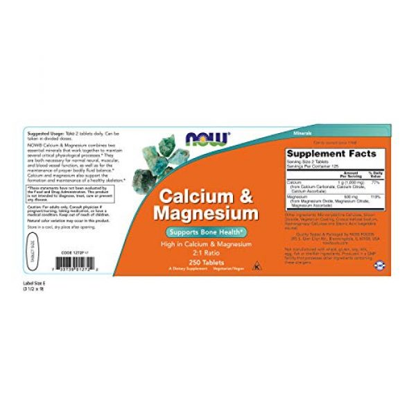 NOW Foods Calcium Supplement 2 NOW Supplements, Calcium & Magnesium 2:1 Ratio, High Potency, Supports Bone Health*, 250 Tablets