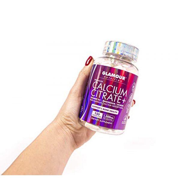 Glamour Nutrition Calcium Supplement 7 Glamour Nutrition Calcium Citrate + Magnesium, Vitamin D3, Boron | Maximum Calcium Absorption for Bone Health | 150 Veggie Capsules