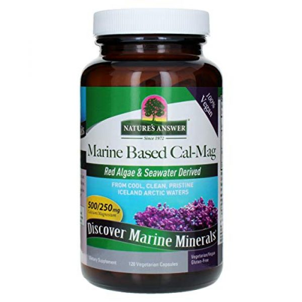 Nature's Answer Calcium Supplement 2 Nature's Answer Marine Based Calcium Magnesium, Super Concentrated 500mg   Plant Based   Red Algae & Seawater Derived   Alcohol-Free & Gluten-Free   Vegetarian Capsules 120ct