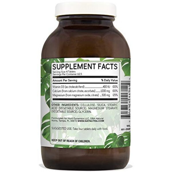 Natural Nutra Calcium Supplement 2 Natural Nutra Cal-Mag Citrate with Vitamin D3, Calcium, Magnesium, 1000/500 mg Complex, Strengthen Bone Density, Muscle and Nerve Health, Highly Bioavailable Sources of Ascorbate, 250 Vegan Tablets