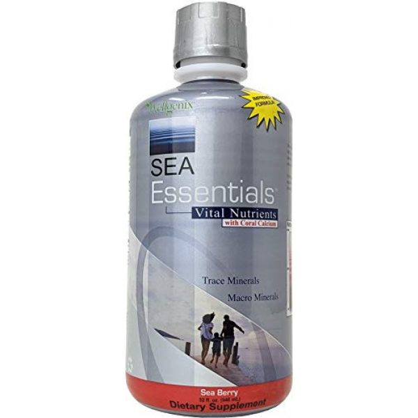 Wellgenix Calcium Supplement 1 Wellgenix Sea Essentials Coral Calcium Liquid Vitamin for High Absorption - Nutritional Multivitamin Supplement - Sea Berry Flavor (32 oz) (1 Pack)