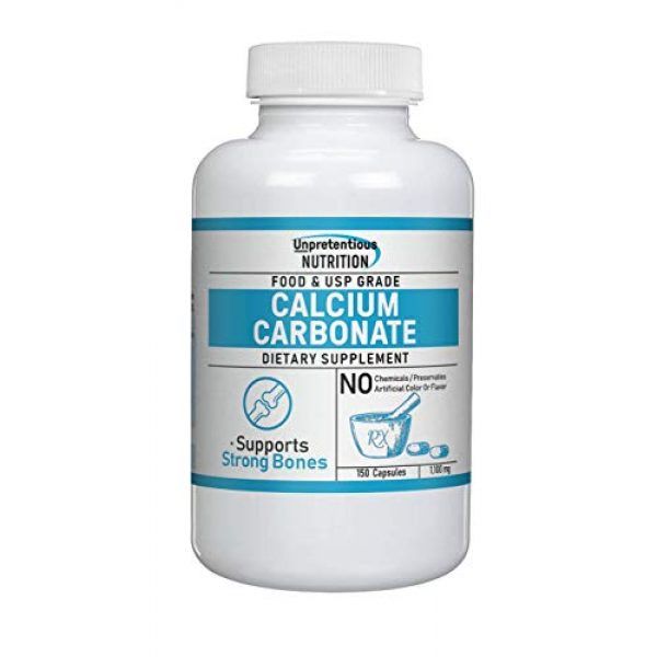 Unpretentious Nutrition Calcium Supplement 1 Calcium Carbonate Supplement,150 Capsules, 1,100 mg/Serving by Unpretentious Nutrition, Bone Health Support, Strengthens Teeth, Natural Antacid, Lab Tested