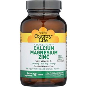 Country Life Calcium Supplement 1 Country Life Target-Mins Calcium Magnesium Zinc w/Vitamin D 1000mg/500mg/25mg - 90 Tablets - Supports Bone & Immune