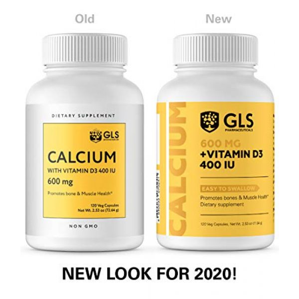 GLS Pharmaceuticals Calcium Supplement 2 Calcium 600 mg with Vitamin D3 400 IU - Pure and Natural Vegan Caps - Bone and Joint Health Supplement for Women And Men - 120 Easy to Swallow Mini Calcium Pills - Bone Support Capsules by GLS