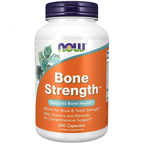 NOW Foods Calcium Supplement 1 NOW Supplements, Bone Strength with Microcrystalline Hydroxyapatite (MCHA), Magnesium and Vitamins C,D and K, 240 Capsules