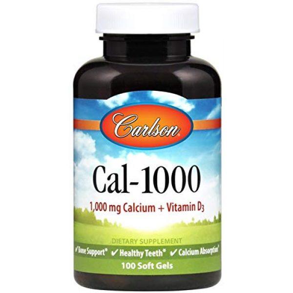 Carlson Calcium Supplement 1 Carlson - Cal-1000, 1000 mg Calcium + Vitamin D3, Bone Support, Healthy Teeth & Calcium Absorption, 100 Softgels