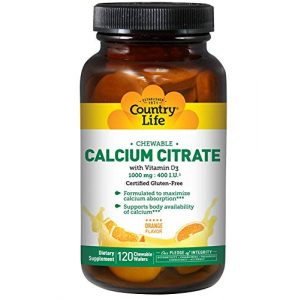 Country Life Calcium Supplement 1 Country Life Chewable Calcium Citrate with Vitamin D3 120 Wafers, 0.18 Pound