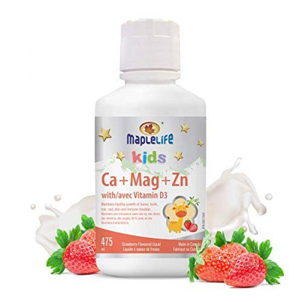 MapleLife Calcium Supplement 1 MapleLife Kids Calcium, Magnesium and Zinc + D Strawberry, 475 ml