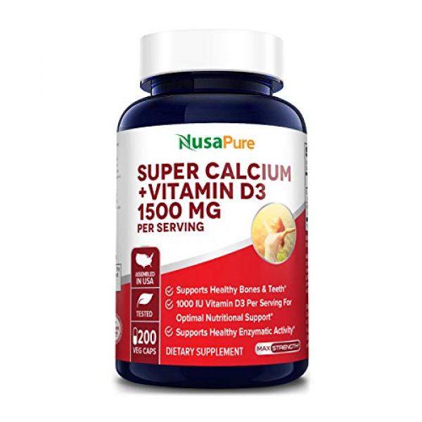 NusaPure Calcium Supplement 1 Super Calcium 1500mg with Vitamin D 1000IU 200 Veggie Powder Caps (Non-GMO & Gluten Free) Helps to Prevent Bone Loss, Osteoporosis