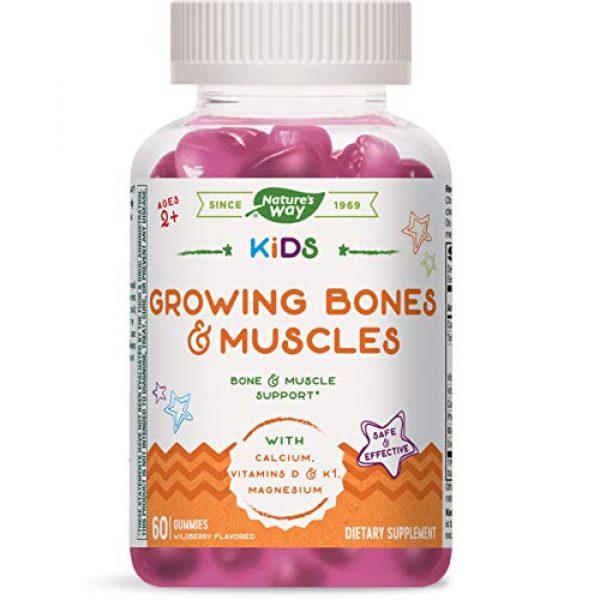 Nature's Way Calcium Supplement 1 Natures Way Kids Growing Bones & Muscles, Calcium & Vitamin D, Ages 4+ Wildberry Flavor, 60 Gummies