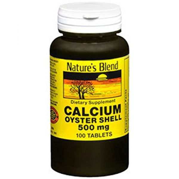 Nature's Blend Calcium Supplement 2 Oyster Shell Calcium 500 mg 100 Tabs