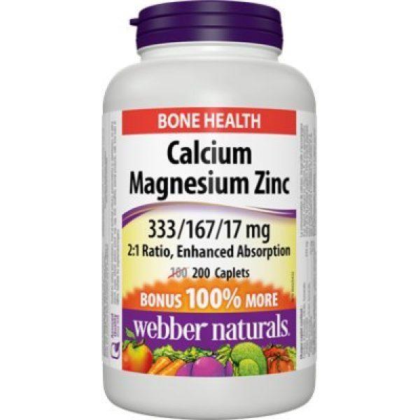 Webber Naturals Calcium Supplement 1 Webber Naturals Calcium Magnesium Zinc, Enhanced Absorption, 333/167/17 mg, Bonus 200 caplets