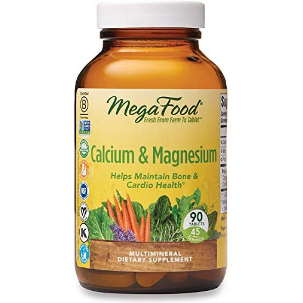 MegaFood Calcium Supplement 1 MegaFood, Calcium & Magnesium, Helps Maintain Bone and Cardiovascular Health, Vitamin and Dietary Supplement Vegan, 90 Tablets
