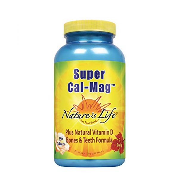 Nature's Life Calcium Supplement 1 Natures Life Super Cal Mag 1000mg of Calcium & 500mg of Magnesium with Vitamin D-2 ,250 Vegetarian Tablets