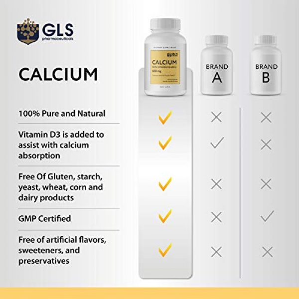 GLS Pharmaceuticals Calcium Supplement 5 Calcium 600 mg with Vitamin D3 400 IU - Pure and Natural Vegan Caps - Bone and Joint Health Supplement for Women And Men - 120 Easy to Swallow Mini Calcium Pills - Bone Support Capsules by GLS