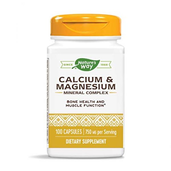 Nature's Way Calcium Supplement 1 Nature's Way Calcium & Magnesium Mineral Complex, 750 mg per serving, 100 Capsules (Packaging May Vary)