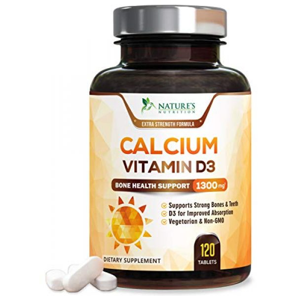 Nature's Nutrition Calcium Supplement 1 Calcium Supplement with Vitamin D3 - High Potency Calcium Carbonate 1300mg - Made in USA - Calcium to Support Bone Health and Help Strong Bones for Women and Men - Non-GMO - 120 Tablets