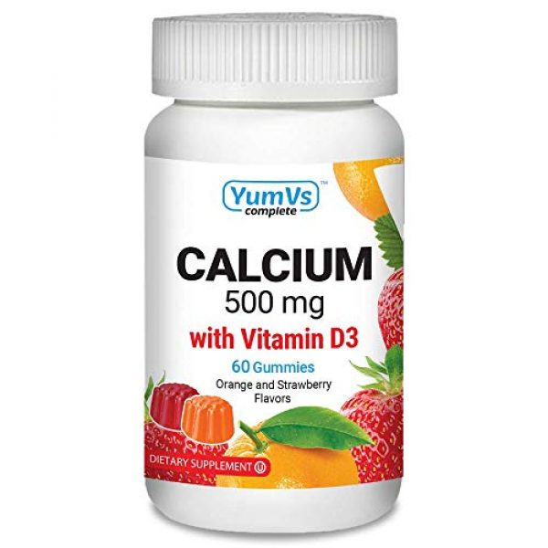 YUM-V'S Calcium Supplement 1 Calcium with Vitamin D3 Gummies by YumV's   Daily Dietary Supplement for Adults and Kids   Calcium 500mg + Vitamin D 1000IU   Natural Orange & Strawberry Flavor Gummies, 60-Count   Kosher