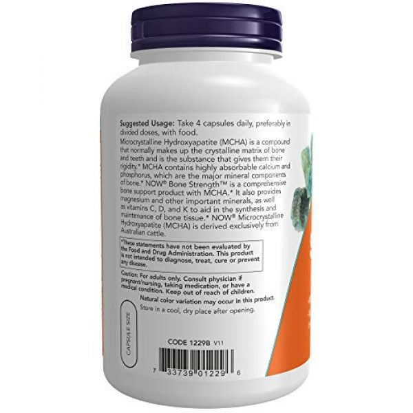 NOW Foods Calcium Supplement 3 NOW Supplements, Bone Strength with Microcrystalline Hydroxyapatite (MCHA), Magnesium and Vitamins C,D and K, 240 Capsules
